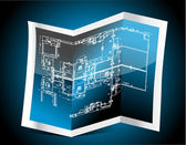 Blue paper with technical drawing — Stock Photo