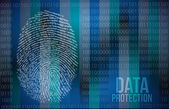 Security concept: fingerprint and data protection — Stock Photo