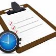 Photo: Classic office clock and check list illustration