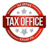 Rubber stamp marked with tax office — Stock Photo