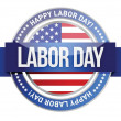 Labor day. us seal and banner — Stockvectorbeeld