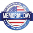 Memorial day. us seal and banner — Imagen vectorial