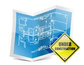 Under Construction Blueprint — Stock Photo