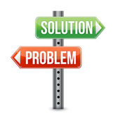 Problem solution road sign — Stock Photo