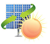 Solar panel and batteries with sun — Stock Photo