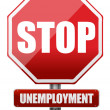 Traffic sign stop unemployment - Stock Photo