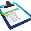 Employment Status clipboard - Stock Photo