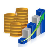 Coins business graph — Stock Photo