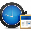 Office clock and calendar — Stock Photo
