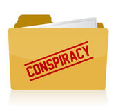 Stamp showing the term conspiracy on a folder. — Stock Photo