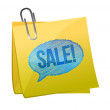 Sale text on yellow sticky paper — Stock Photo