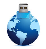 USB plug made as an extension of earth globe — Stock Photo