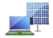 Green it concept with laptop and solar cell panel — Stok fotoğraf