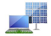 Lo verde concetto con pannello portatile e celle solari — Foto Stock