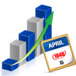 Business graph and taxes april 15th on a calendar — Stock Photo