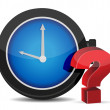 Red Question Mark with Alarm Clock — Stock Photo
