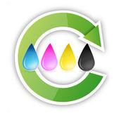 Cmyk inkjet ink drops recycle — Stockfoto