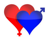 Two illustrated hearts with gender sign — Foto Stock