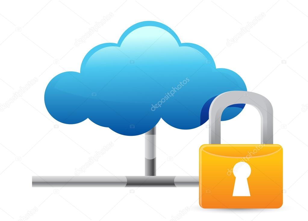 Cloud Computing Icon with Protection illustration design over white — Stock Photo #19771669