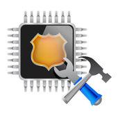 Ferramentas e chip eletrônico — Foto Stock