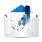 Gráfico de envelope e negócios — Foto Stock