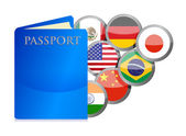 Concept of the passport and countries of the world — Stock Photo