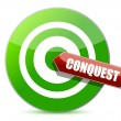 Green conquest darts target aim — Stock Photo