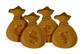 Conjunto de bolsas de dinero — Foto de Stock