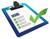 Brand core characteristics clipboard — Stock Photo