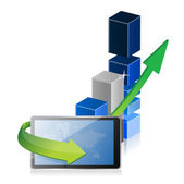 Tablet met zakelijke grafiek achter — Stockfoto