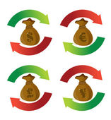 Currency money bags cycle arrow signs — Stock Photo