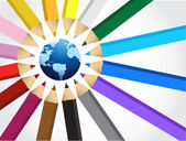 Globe and Set of crayons — Stock Photo