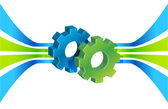 Gears in motion and lines, business process — Stock Photo