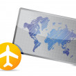 Airplane and world map board — Stock Photo