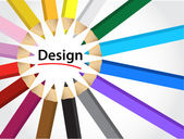 Design and crayons — Stock Photo