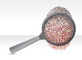 Detectives magnifier with fingerprint — Stock Photo