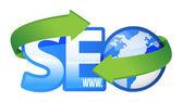 Seo text with earth globe — Stock Photo