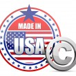 Made in USA flag seal with copyright sign — Stock Photo #20403075