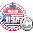 Made in USA flag seal with copyright sign — Stock Photo