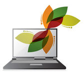 Floral design laptop design — Stock Photo