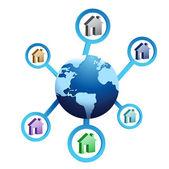 Casas ao redor do globo — Fotografia Stock