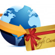 Stock Photo: Globe arrow and giftcard