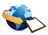 Globe arrow and clipboard — Stock Photo