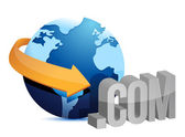 Globe arrow and internet connection — Stock Photo