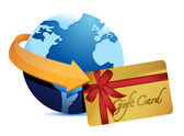 Globe arrow and giftcard — Stock Photo