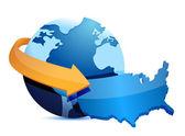 Globe US map — Stock Photo