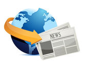 Globe news around the world — Stock Photo