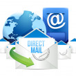 Direct mail Blue Mailbox with Mails global — 图库照片