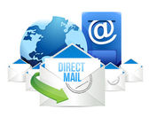 Direct-mail blau postfach mit mails global — Stockfoto