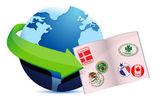 Open passport globe sign — Stock Photo
